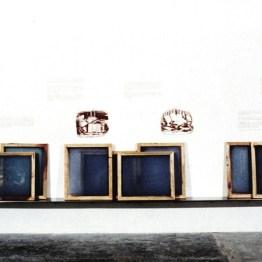 Kit #10 (Installation), 1990, silkscreen on wall and silkscreens on steel