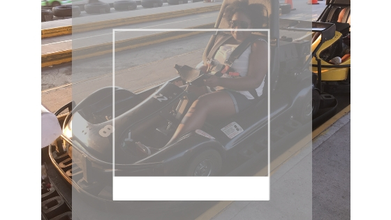 black women and family go kart racing in miami florida