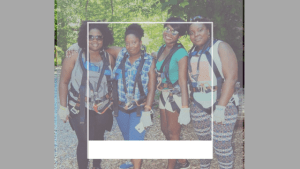 black plus size women zip lining adventure