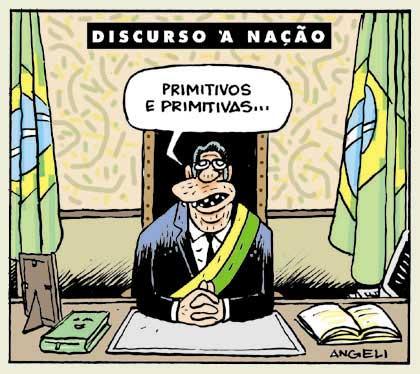 """""""Discurso à Nação"""", Angeli, Folha de S.Paulo, 1997"""