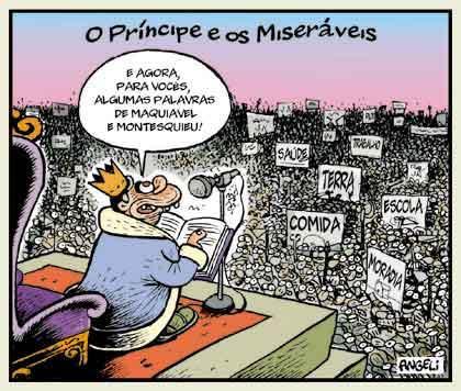 """""""O Príncipe e os Miseráveis"""", Angeli, Folha de S.Paulo, 1998"""