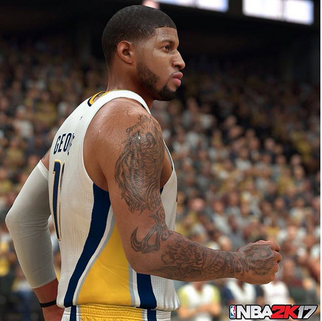 NBA2K16 vs NBA2K17: screenshot di Paul George a confronto