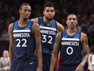 Andrew Wiggins, Karl Anthony-Towns, Jeff Teague, Minnesota Timberwolves