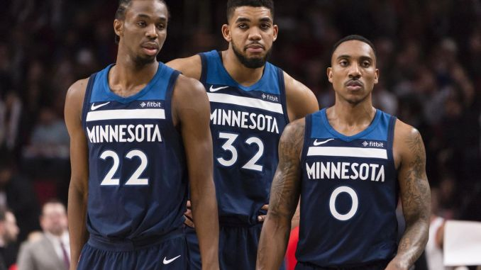 Andrew Wiggins, Karl Anthony-Towns, Jeff Teague, Minnesota Timberwolves