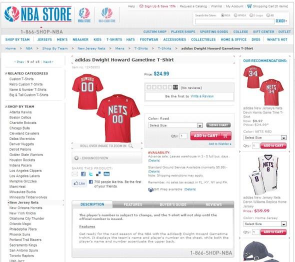Camiseta de Dwight Howard con los New Jersey Nets