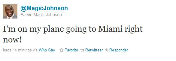 Magic Johnson, twitteando su salida hacia Miami