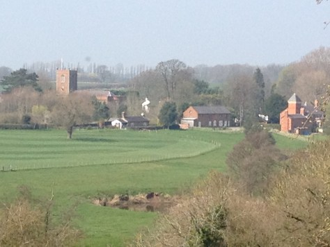 Church Minshull village from the top of the hill