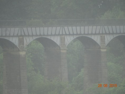 The famous Pontcysyllite aqueduct. Built in 10yrs, at a cost of £47,000, by Thomas Telford. It is 126ft above the River Dee, and is 1007ft in length. It was opened in 1805.