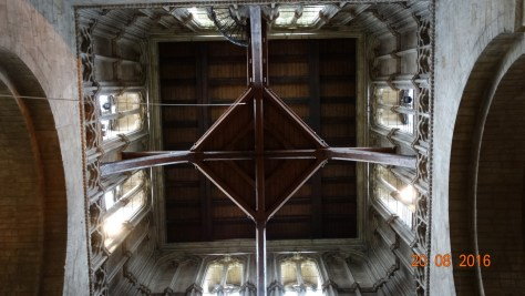 looking up at the ceiling in the abbey tower