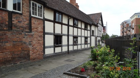 The commandery. Now a museum, but started in the 10th century as a hospital.From the 13th century the masters of the hospital were called commanders, hence it's name. The present timbered structure dates from the reign of Henry VII in the 15th century, and served as Charles II's headquarters before the battle of Worcester in 1651.