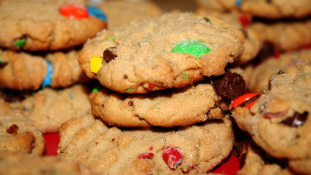 Generic baked cookies with chocolate M&Ms