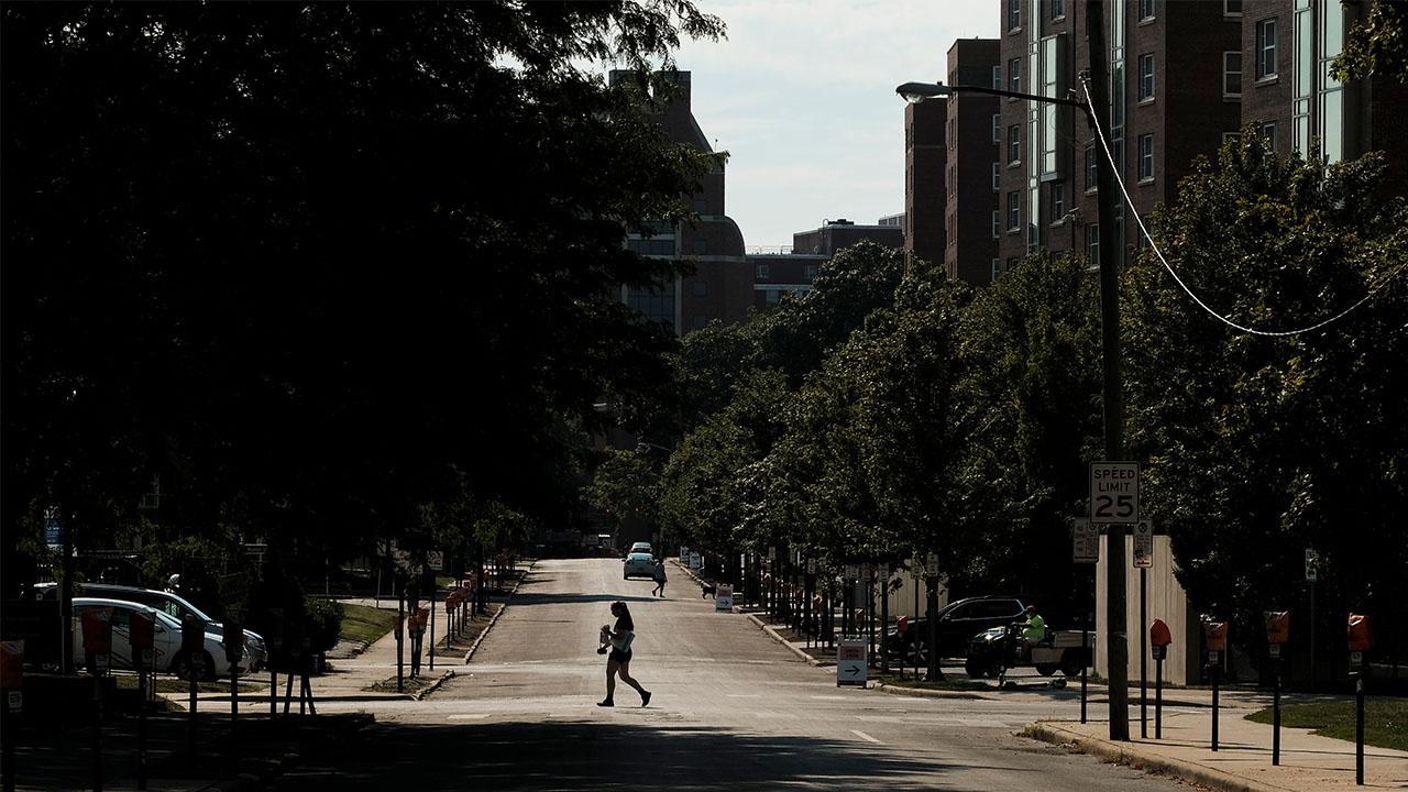 Ohio State campus heat person walking