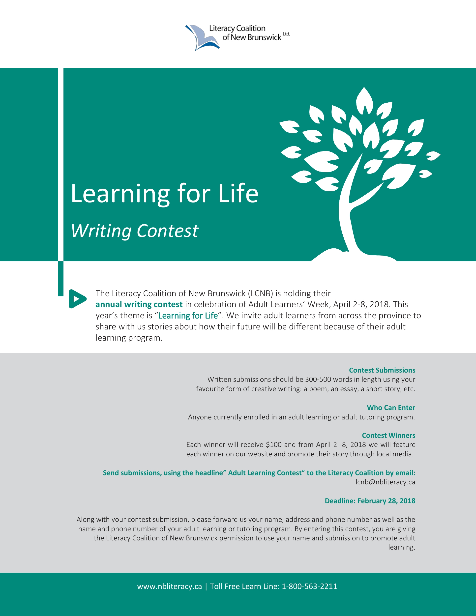 """""""Learning for Life"""" annual adult learners writing contest! – Literacy  Coalition of New Brunswick"""