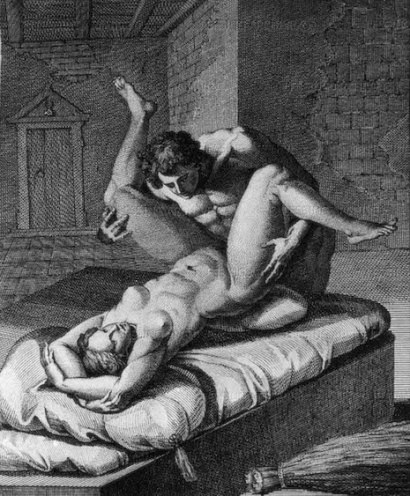 """18th and 19th century erotic books owned by author and art collector Roger Peyrefitte were auctioned off and dispersed in 1981.Frontispice and engravings from """"L'Aretin by Agostino Carracci,or erotic postures.."""" after Carracci's paintings by J.J. Coigny(1761-1809)."""