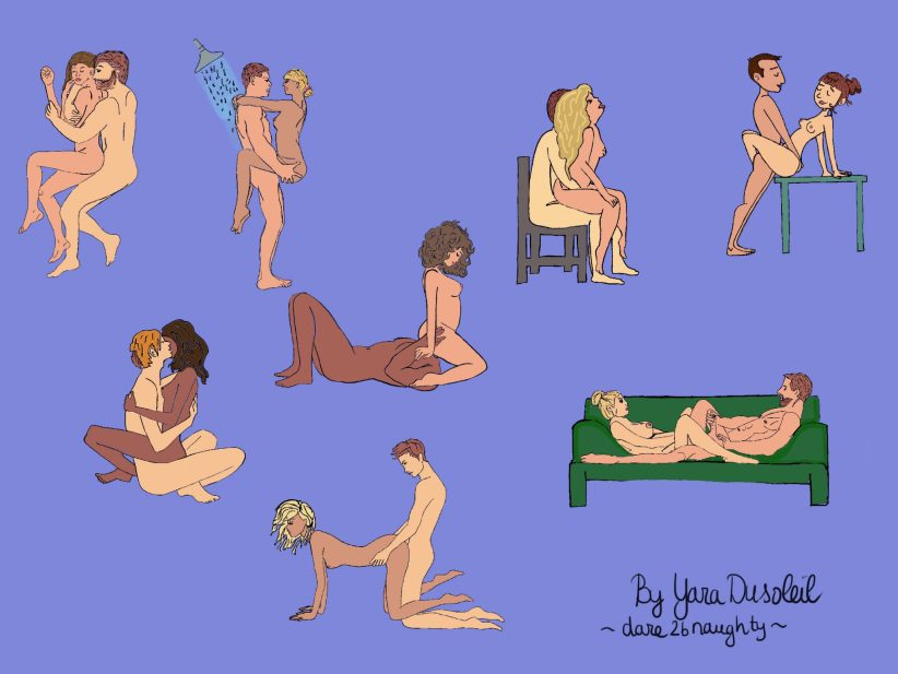 Illustrated use of sex toys