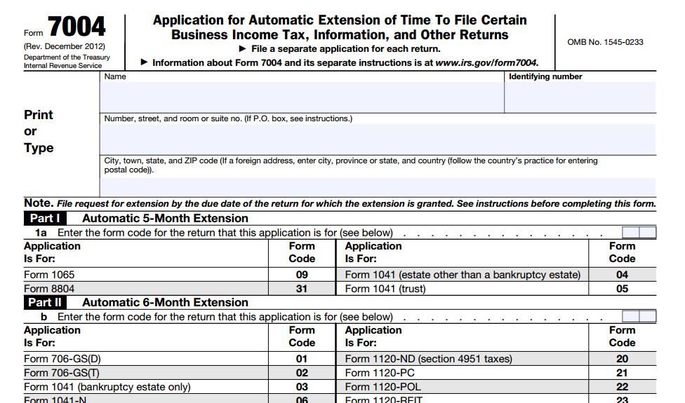 File Federal Taxes: Form For Extension To File Federal Taxes