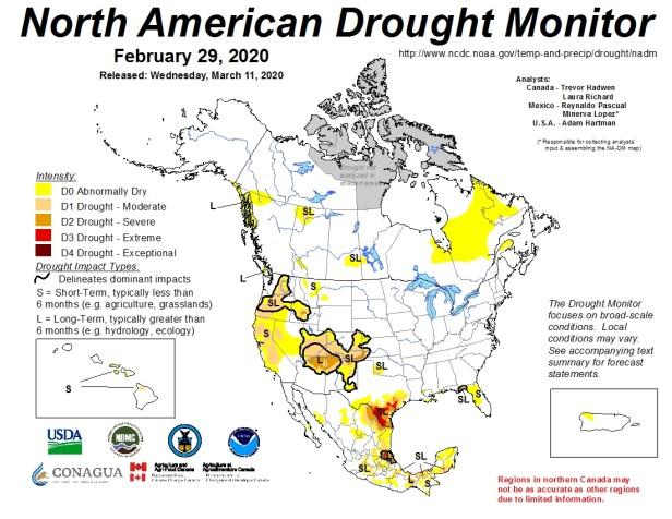 February 2020 North American Drought Monitor