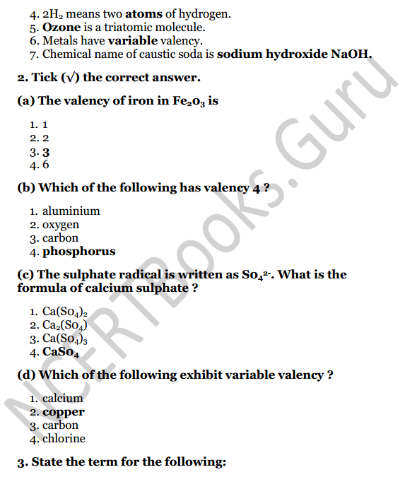 Selina Concise Chemistry Class 7 ICSE Solutions Chapter 4 Atoms, Molecules and Radicals 7