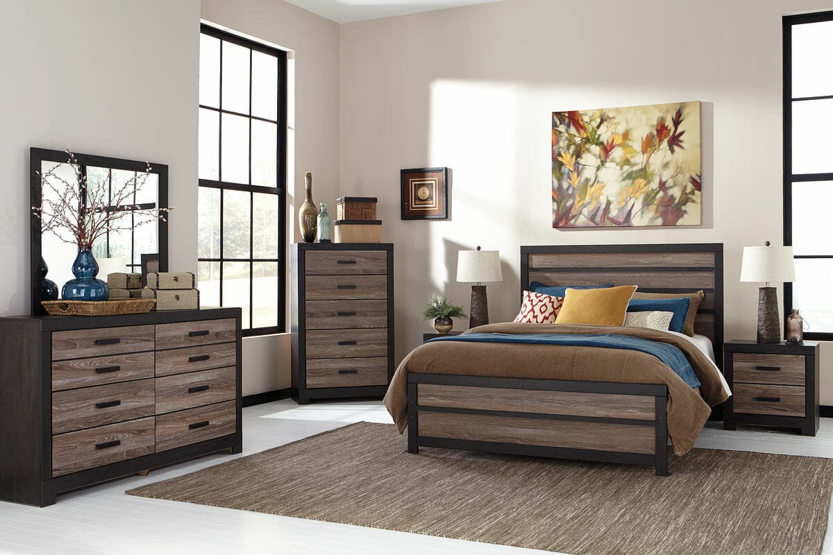 harlinton 7 pc dresser mirror chest queen panel bed nightstand