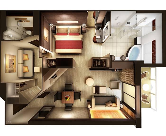 ノルウェージャンクルーズライン ザ・ヘブン 2ベッドファミリースイート フロアプラン The Haven's 2-Bedroom Family Villa with Balcony Floor Plan on Norwegian Escape