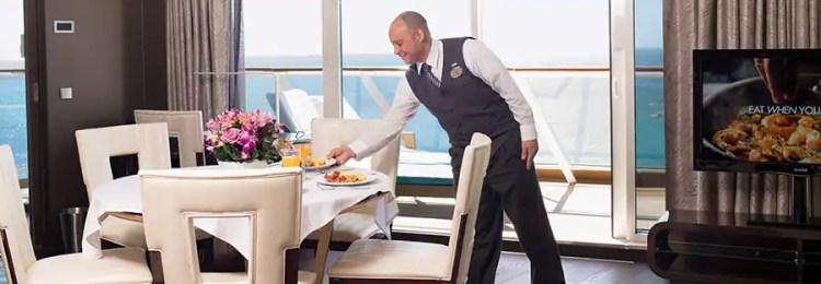 ノルウェージャンクルーズライン ザ・ヘブン お部屋での純白テーブルクロスでのお食事 White tablecloth in-suite dining
