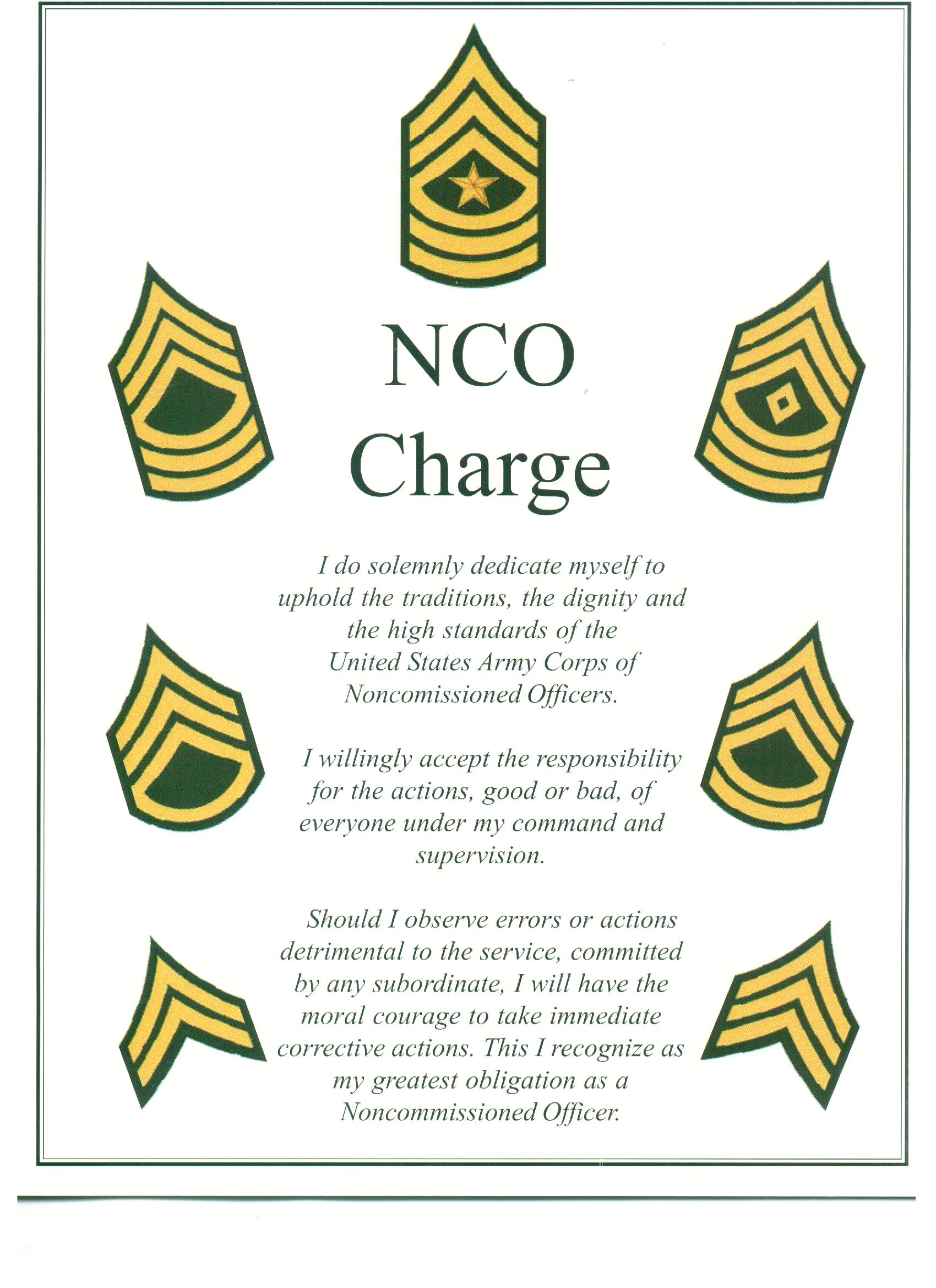 Printable Nco Creed Certificate