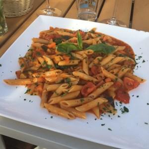 Vegetarian pasta at o'key beach restaurant in Cannes