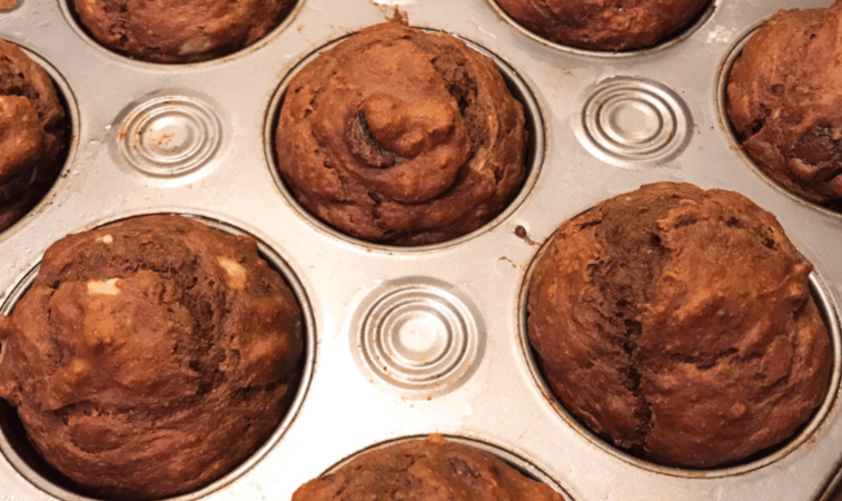 NCSULilWolf - The Morning Bake - Skinny Double Chocolate Banana Muffins