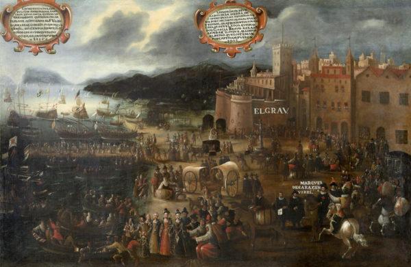 Scène d'embarquement de Morisques, ces musulmans d'Espagne convertis de force au catholicisme après la reconquête puis finalement expulsés en 1609-1614 parce qu'ils étaient une cinquième colonne de l'Empire ottoman