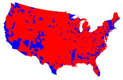 En rouge... Les comtés majoritairement pour Trump