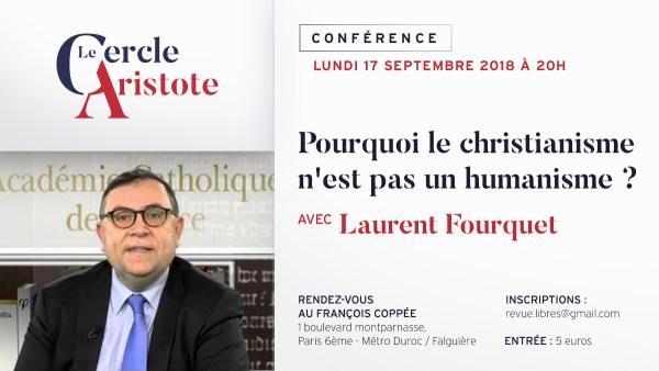 Conférence lundi 17 septembre à Paris : Pourquoi le christianisme n'est pas un humanisme ?