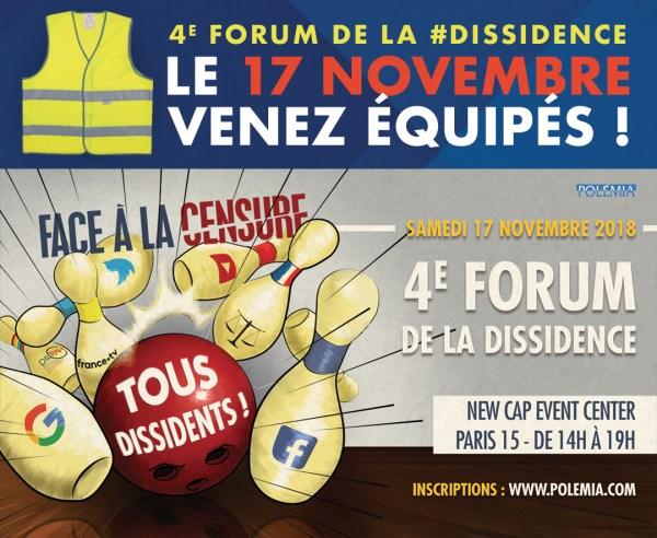 4e forum de la dissidence le 17 novembre prochain : venez équipés !
