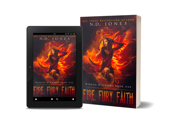 Fire Fury Faith Angel Fantasy Romance by Paranormal Romance author ND Jones