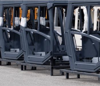 Linear actuators cabins on construction equipment