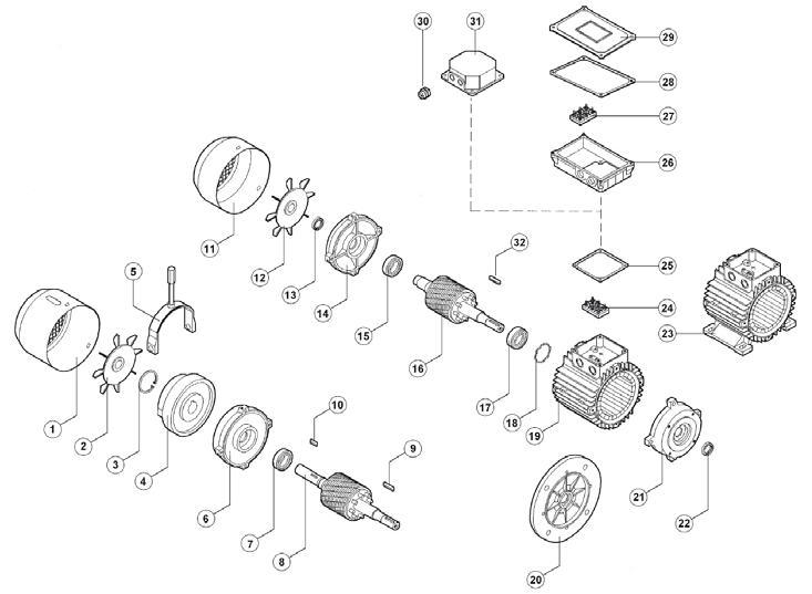 disegno motore elettrico trifase e monofase