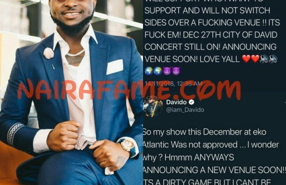 Davido Cries Out: My Show This December At Eko Atlantic Was Not Approved (Photos)