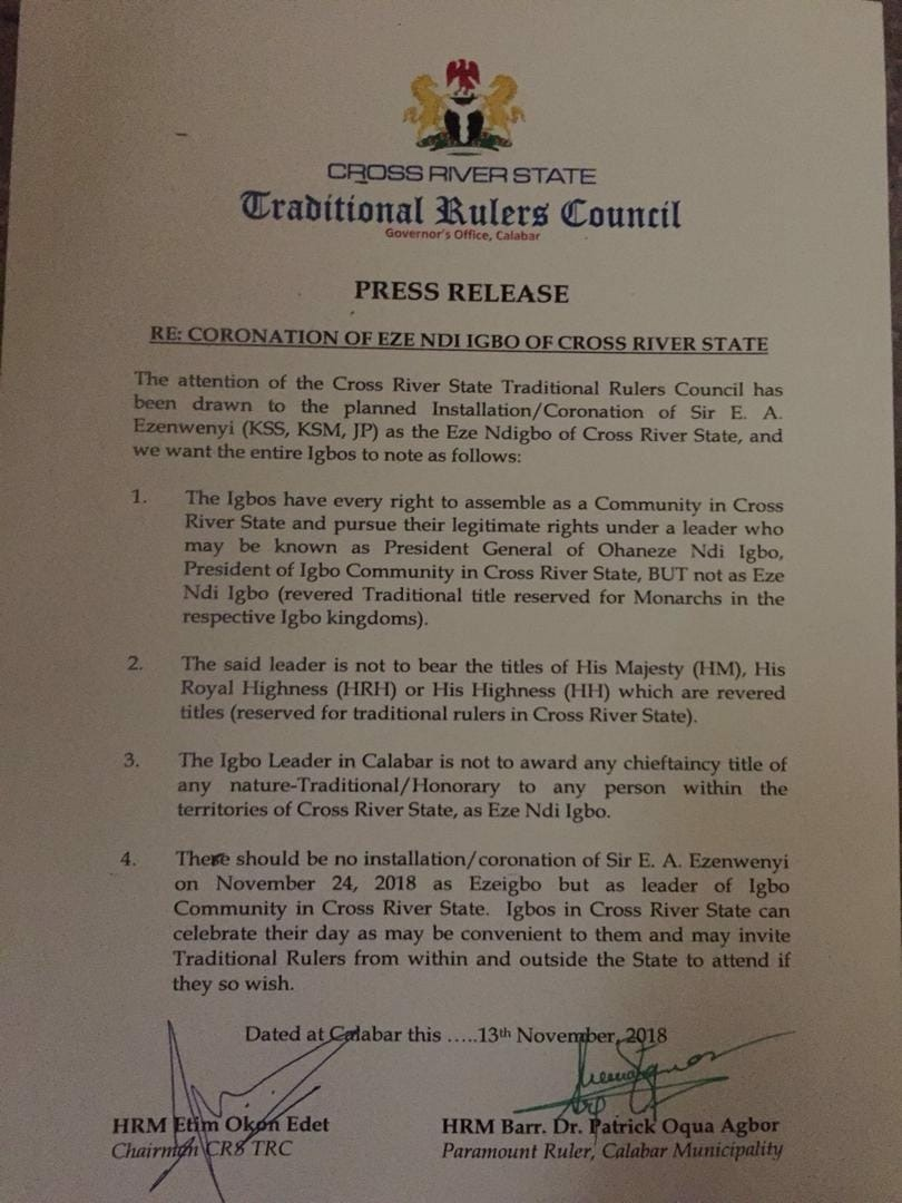 PRESS RELEASE: Traditional Rulers Council In Cross River Warns Igbo Community 1