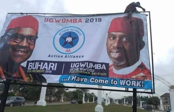 Rochas In-Law, Uche Nwosu Dumps DPP For AA, Campaigns With Buhari's Image (Pic)
