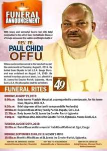 See The Burial Poster Of Reverend Father Who Was Murdered In Enugu