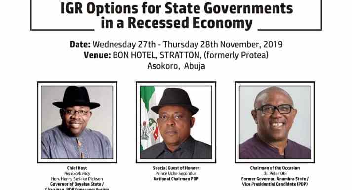 PDP Governors storm Abuja today for IGR summit