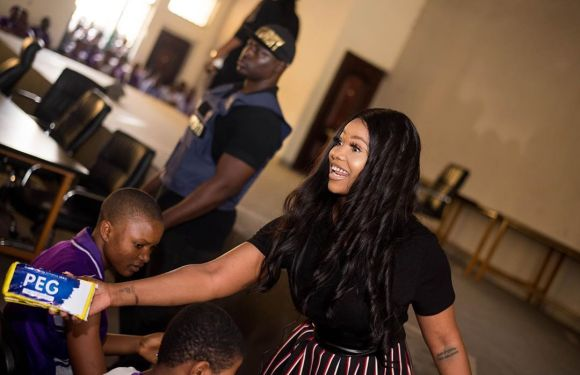 "Ex BBNaija Housemate, Tacha launches ""Pad For Every Girl"" project, donates pads to female students (Photos)"