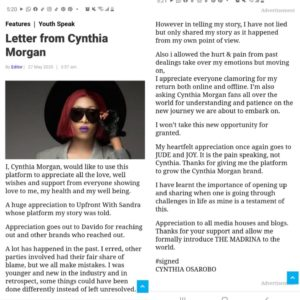'I Never Lied' – Cynthia Morgan Writes Emotional Letter, thanks Jude Okoye and former manager