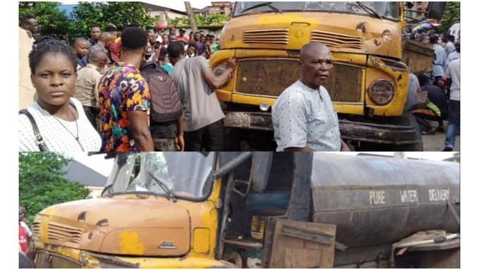 One dead, four injured as tanker rams into tricycle in Anambra