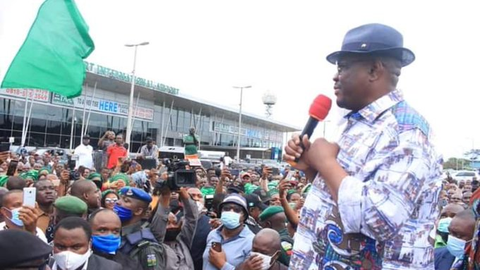 Edo Election: Mammoth crowd receives Wike in Port Harcourt