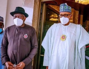 Pres. Buhari holds closed door meeting with Jonathan