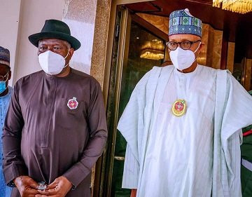 Pres. Buhari holds closed door meeting with Jonathan (photos)