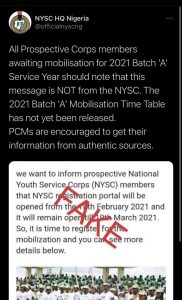 2021 batch 'A' mobilisation time table not out – NYSC