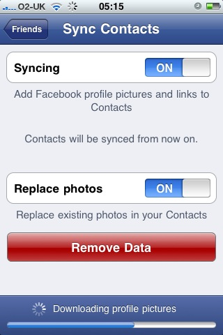 Facebook App Sync Options