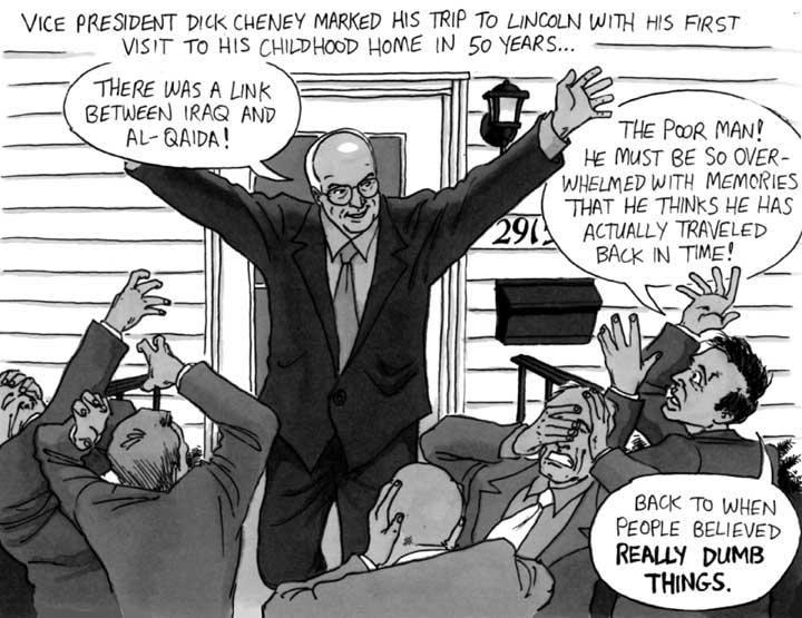 Iraq-9/11 false connection claims, cartoon
