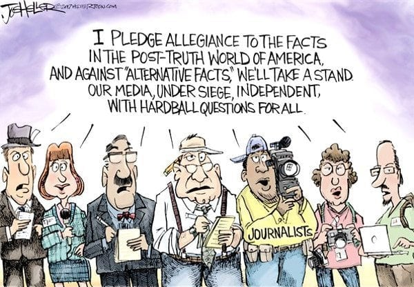 Definitely Politically Correct: cartoon by Joe Heller about alternative facts.